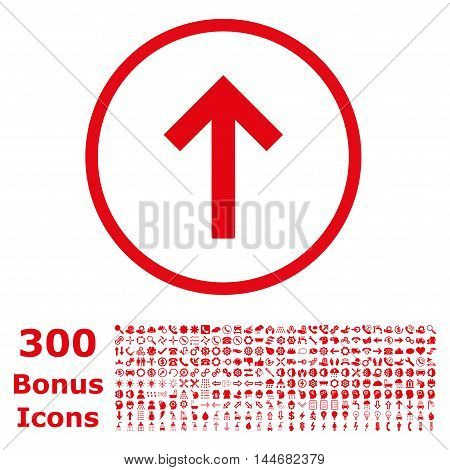 Up Arrow rounded icon with 300 bonus icons. Vector illustration style is flat iconic symbols, red color, white background.