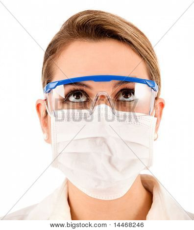 Female chemist using glasses and facemask - isolated over a white background