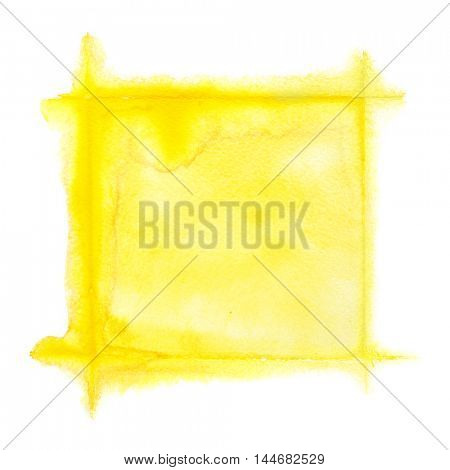 Yellow square watercolor frame - space for your own text
