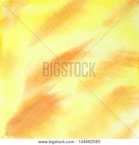Yellow abstract watercolor background with red strokes