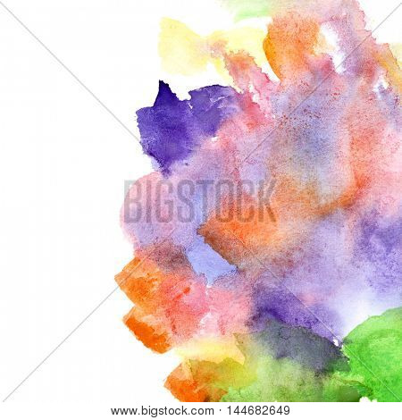 Variegated watercolor abstract background with copyspace