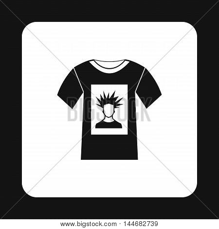 Shirt with print of man portrait icon in simple style on a white background
