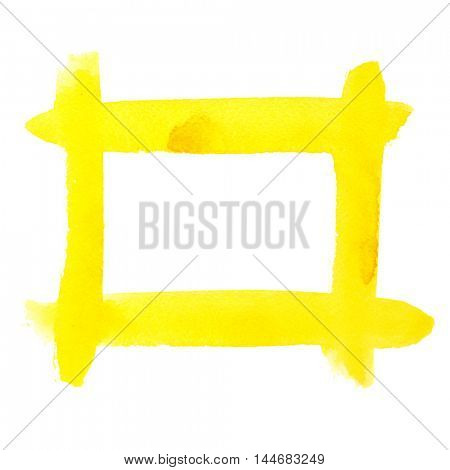 Yellow watercolor frame of brush strokes - space for your own text