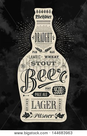 Poster bottle of beer with hand drawn lettering. Vintage drawing for pub, bar menu, beer card, t-shirt print and beer themes. Isolated black bottle of beer with lettering. Vector Illustration