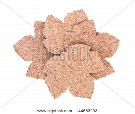 Maple leaf shape cork pads separated on white background