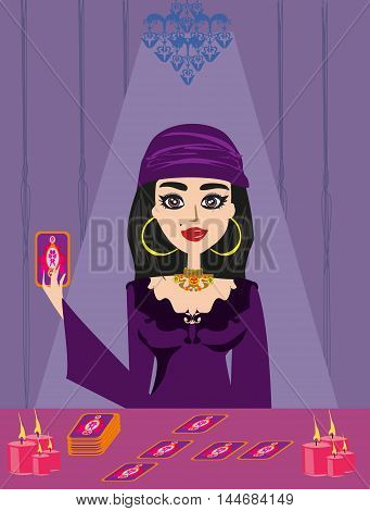 The young Fortuneteller with cards , vector illustration