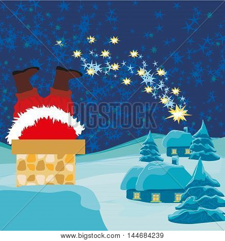Santa Claus stuck in the chimney , vector illustration