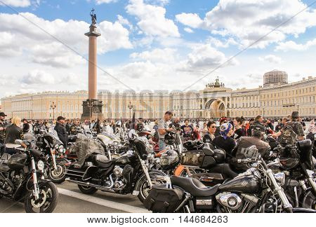 St. Petersburg, Russia - 13 August, People and motorcycles on the Palace Square,13 August, 2016. The annual International Motor Festival Harley Davidson in St. Petersburg.