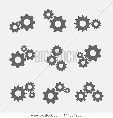 Gears with cogs vector icons isolated from the background. Gear wheel icon as a symbol of mechanics technology industry.