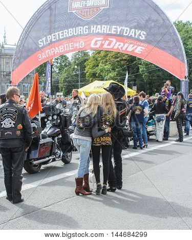 St. Petersburg, Russia - 13 August, People at the start of the parade,13 August, 2016. The annual International Motor Festival Harley Davidson in St. Petersburg.