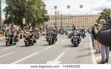 St. Petersburg, Russia - 13 August, Parade of Harley Davidson in St. Petersburg,13 August, 2016. The annual International Motor Festival Harley Davidson in St. Petersburg.