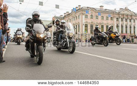 St. Petersburg, Russia - 13 August, Bikers traveling on the Green Bridge,13 August, 2016. The annual International Motor Festival Harley Davidson in St. Petersburg.