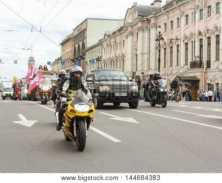 St. Petersburg, Russia - 13 August, Machinery accompany the parade,13 August, 2016. The annual International Motor Festival Harley Davidson in St. Petersburg.