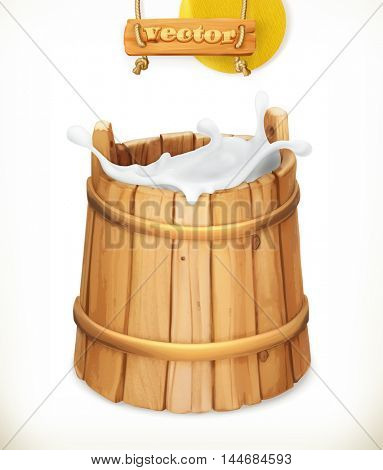 Wooden bucket. Milk. Rustic style. Natural dairy products. 3d vector icon