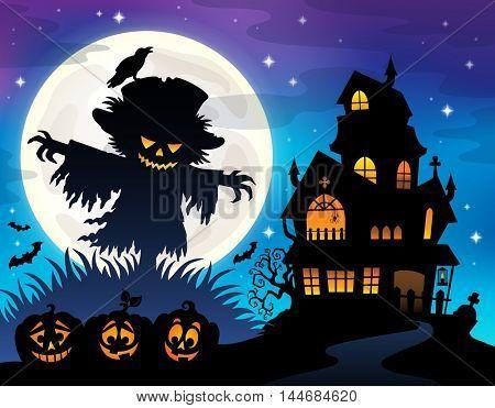 Halloween scarecrow silhouette theme 1 - eps10 vector illustration.