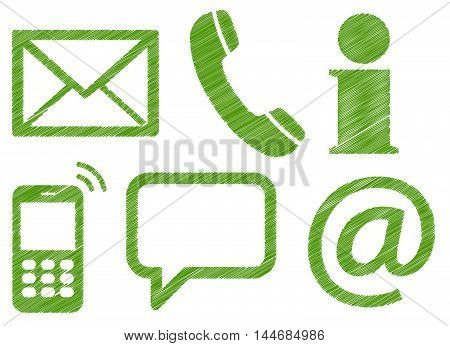 Six Contact Us Scribble Icons
