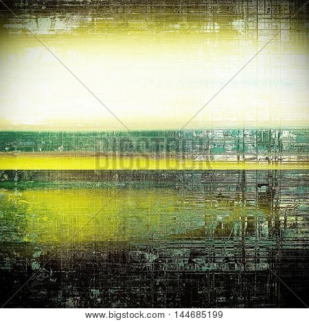 Grunge texture or background with retro design elements and different color patterns: green; blue; yellow (beige); brown; white; black