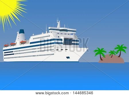 the white cruise liner floats by sea by the island