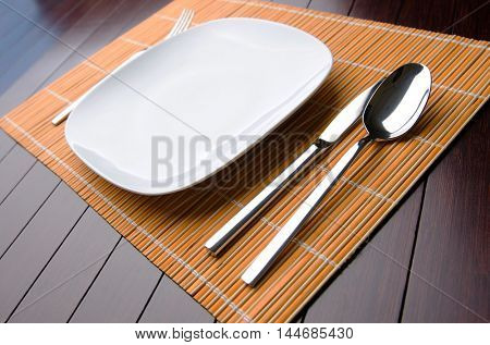 Table utensils served for the dinner