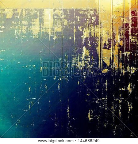 Aged background or texture. Vintage graphic composition with grunge style elements and different color patterns: green; blue; purple (violet); yellow (beige); cyan; black