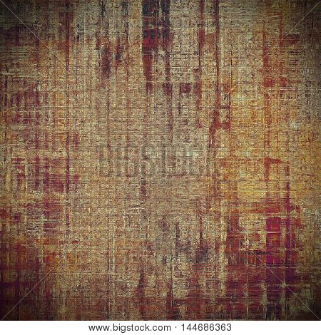 Retro background with vintage style design elements, scratched grunge texture, and different color patterns: gray; red (orange); purple (violet); yellow (beige); brown; pink