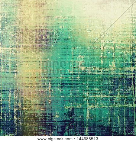 Retro style graphic composition on textured grunge background. With different color patterns: gray; green; blue; yellow (beige); cyan