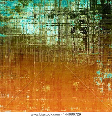 Old school elements on textured grunge background. With different color patterns: green; blue; red (orange); yellow (beige); brown; cyan