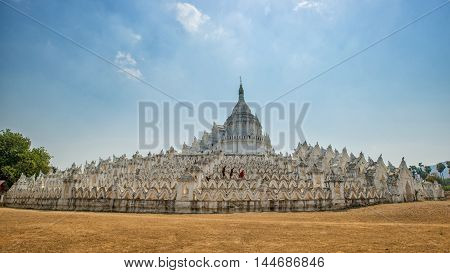 The white pagoda of Hsinbyume (Mya Thein Dan pagoda ) paya temple Mingun Mandalay Myanmar