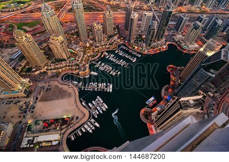 Majestic Colorful Dubai Marina Skyline During Night. Multiple Tallest Skyscrapers Of The World. Duba