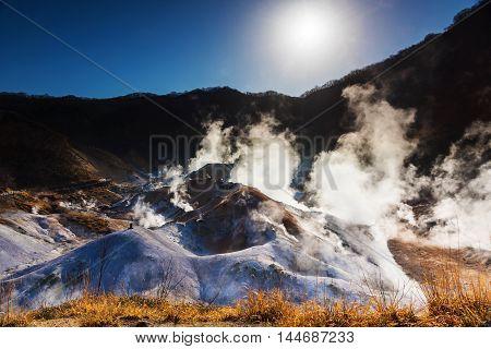 Jigokudani Hell Valley At Sunrise, Noboribetsu