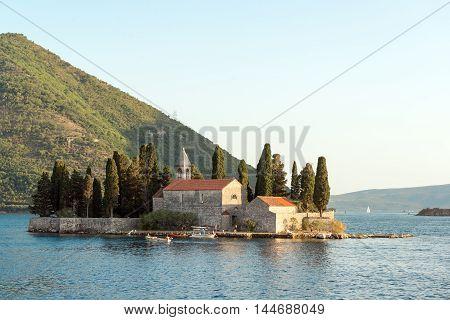 Saint George (Sveti Dordje) island church in Kotor Bay, Montenegro