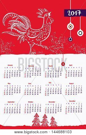 Calendar 2017 With Rooster For Event Happy New Year . Style Red