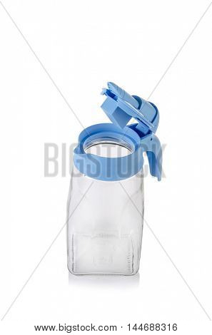 Blue pitcher isolated on the white background