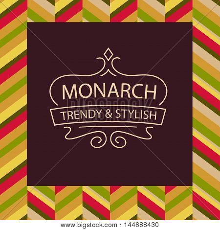 Trendy And Style Template Of Vector Logo With Text Monarch. Elem