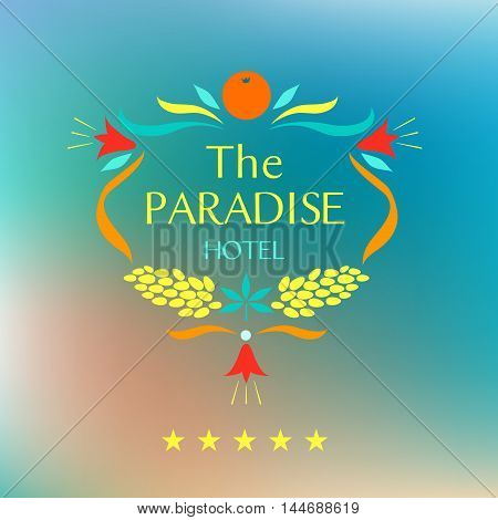 Template corporate identity with vector logo for resort and spa paradise hotel. Oval frame of fruits and flowers.
