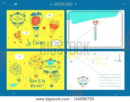 Template corporate identityand postcard with vector logo for resort and spa paradise hotel. Oval frame of fruits and flowers.