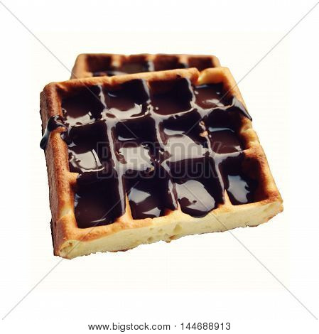 Vienna Waffles with chocolate topping. Isolated on white. View from the Top. White surface with Chocolate covered Wafers on the white background.