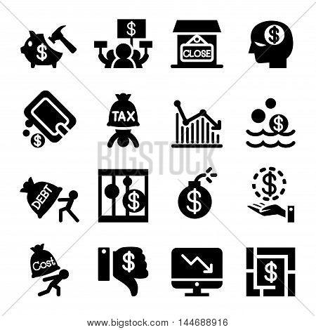 Business fail icon set Vector illustration graphic