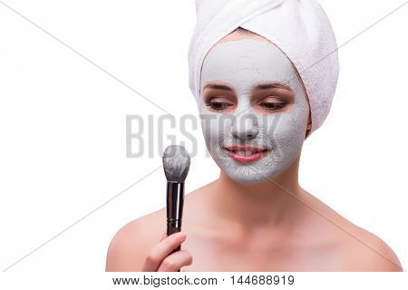 Woman in face treatment concept isolated on white