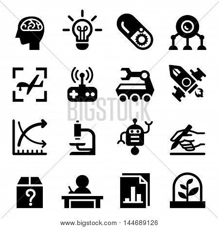 Invention & Research icon set Vector illustration graphic design