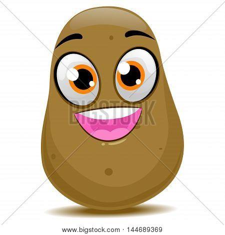 Vector Illustration of Cute Cartoon Potato Mascot