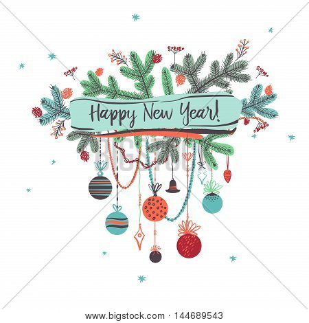 Illustration for party of happy new year 2017. Vector christmas decoration on a white background with branch of Christmas tree.