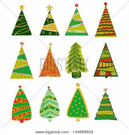 Illustration for party of happy new year 2017. Vector christmas decoration on a white background with set of color christmas xmas tree