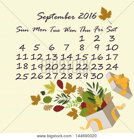 September calendar. open box with the autumn leaves. gift box with autumn leaves and ribbon. Retro vector design elements.