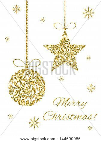 Elegant Greeting Card. Merry Christmas! Christmas Ball And Star From Abstract Floral Ornament With G