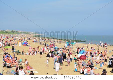 Clacton on Sea United Kingdom - August 26 2016: Packed beach during Airshow at Clacton on Sea