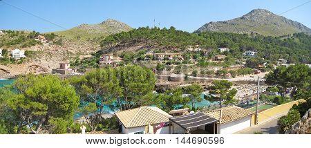 Bay Cala Molins in Cala Sant Vicenc Majorca Spain - panorama