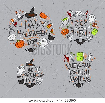 Set of halloween color monograms drawing in flat style on gray background.