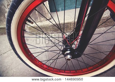 Close Up Of A Bmx Bicycle Wheel