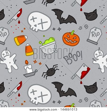 Halloween color pattern skull drawing in flat style